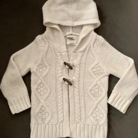 OshKosh B'gosh Other - Cute White, Hooded Sweater w/ Toggle Buttons